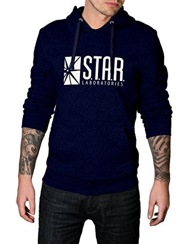 Decrum Mens Star Sweatshirt Hoodie | Navy Blue, L