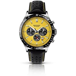 Sekonda Men's Quartz Watch with Yellow Dial Chronograph Display and Black Leather Strap 3378.27