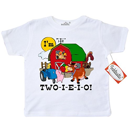 Inktastic Little Boys' TWO-I-E-I-O Toddler T-Shirt 2T (164 Tractors)