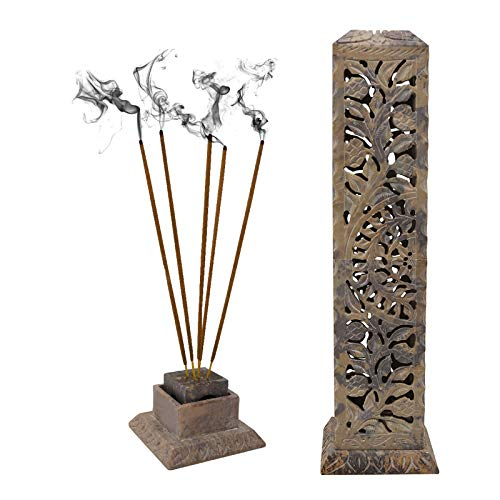 CRAFTSTRIBE Soapstone Incense Holder Tower Long Floral Burner Ash Catcher Joss-Stick (Incense Stone Tower)