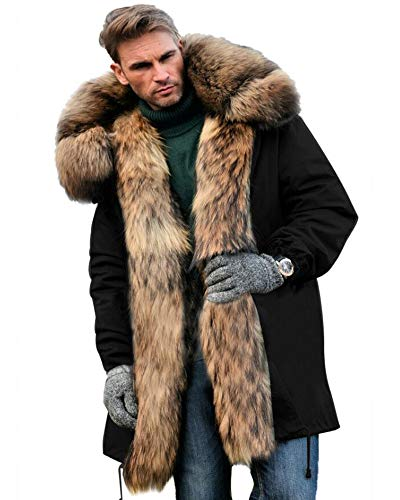 Aox Men's Casual Faux Fur Hood Thicken Winter Coat Lightweight Snow Jacket Parka (XL, Black) (Coats For Men Fur Collar)