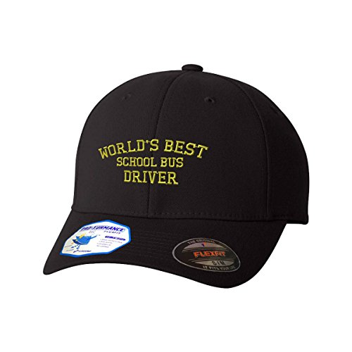 Worlds Best School Bus Driver Flexfit Pro-Formance Embroidered Cap Hat Black Large/X-Large