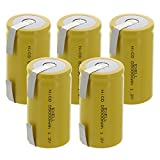 5x Exell D Size 1.2V 5000mAh NiCD Rechargeable Batteries with Tabs for medical instruments/equipment, electric razors, toothbrushes, radio controlled devices, electric tools