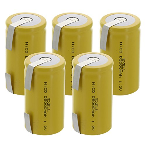 5x Exell D Size 1.2V 5000mAh NiCD Rechargeable Batteries with Tabs for medical instruments/equipment, electric razors, toothbrushes, radio controlled devices, electric tools by Exell Battery