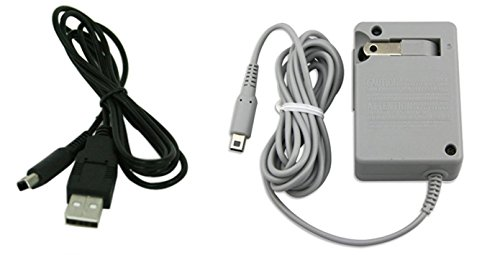 AC Wall Plug Charger and USB Power Adapter Cable for Nintendo 3DS DSi XL (Port Xl 3ds Charger)