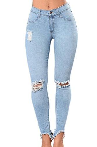 YACUN Skinny Haute Jeans Jeans Taille Les LightBlue 4OwqCa4