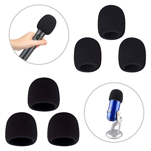 - Foam Windscreen,Aokeo Thickened Microphone Windshield(Filter).Used for Handheld Hicrophones, Blue Yeti, Yeti Pro Condenser Hicrophones and Other Medium and Large Microphones (Black, 6 Pack)