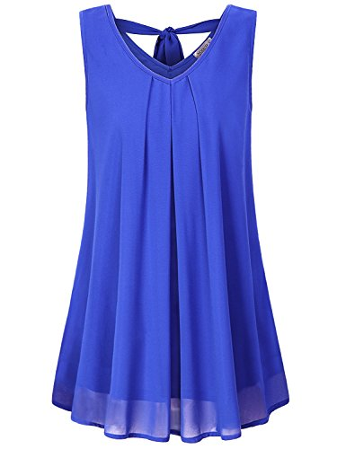 Double Layer Tunic - MOQIVGI Flowy Tops for Women,Juniors Sleeveless Chiffon Blouses Cute Double Layer Bow Tie Pleated Trapeze Swing Shirts Dressy Professional Tunics Soft Surroundings Clothing Blue X-Large