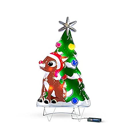 Rudolph Christmas Decorations.Amazon Com 2 Festive Rudolph Lighted Outdoor Christmas