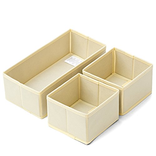 Set of 3 Drawer Organizer Boxes - EZOWare Closet / Dresser / Nursery Storage Drawer Container Bins Basket for Bras, Socks, Underwear, Tie, Scarves, Gloves, School Supplies, Diapers, and more - Bin Tabletop