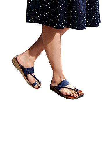 Youlee Mujeres Cuero Cuña Chanclas para el verano Azul