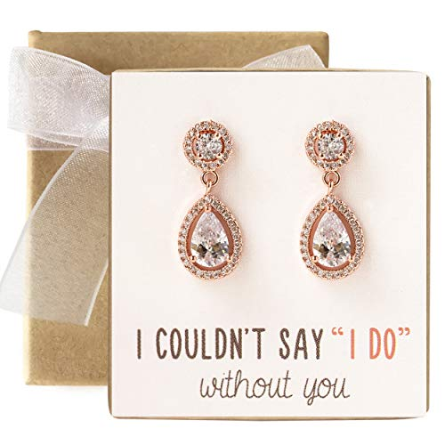 A+O Bridesmaid Gift, Drop Earrings in Rose Gold