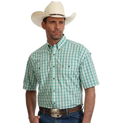 - Wrangler George Strait Big and Tall Short Sleeve Plaid Shirt (Green Tan 2X-T)