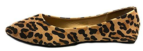 Sko 18 Kvinner Pekte Ballett Flate Sko 4052 Leopard