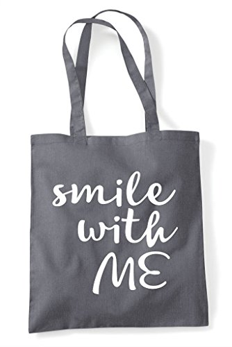 Dark Me With Bag Positive Smile Shopper Statement Grey Tote g40wwq