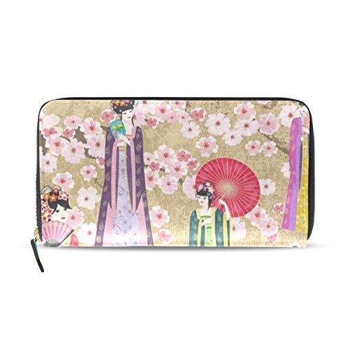 Womens Wallets Japanese Women Sakura Fan Blossom Leather Passport Wallet Coin Purse Girls Handbags ()