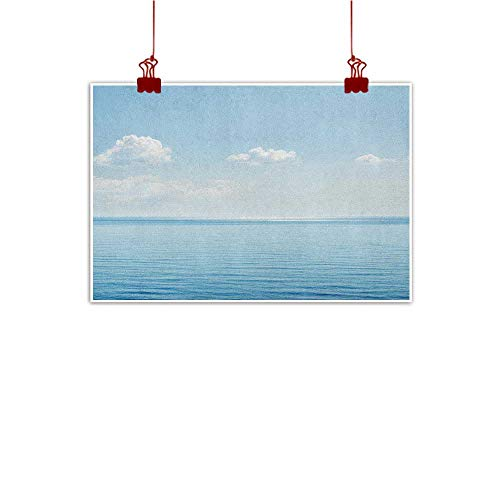 Sunset glow Wall Painting Prints Ocean,Aquatic Seascape with Sky Landscape in Tropical Lands Relaxation Spot in The Coast, Blue White 24