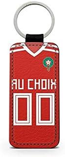 idcase Funnny - Porte-Clef Photo Rectangulaire Simili Cuir Design Porte-Clef 2018/2019 Nouveau Maillot Domicile Personnalisable NOM et PRENOM au Choix Coupe du Monde Maroc