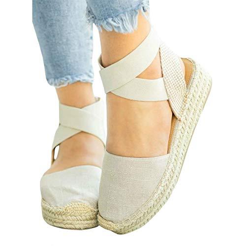(PiePieBuy Womens Espadrille Platform Wedge Sandals Closed Toe Mid Heel Ankle Sandals (11 B(M) US,)