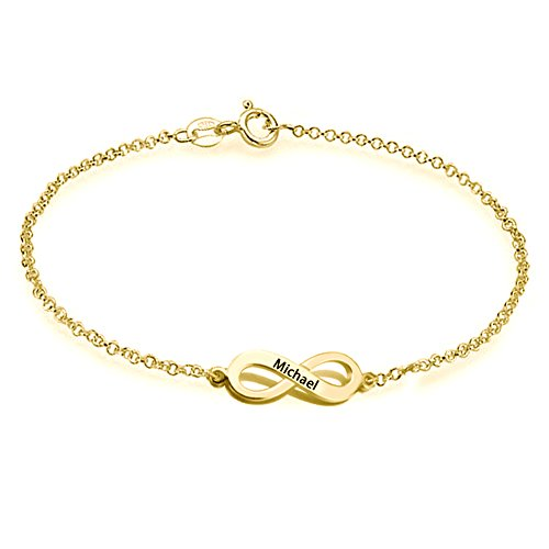 (Ouslier 925 Sterling Silver Personalized Infinity Bracelet with Rollo Chain Custom Made with Any Names (Golden))