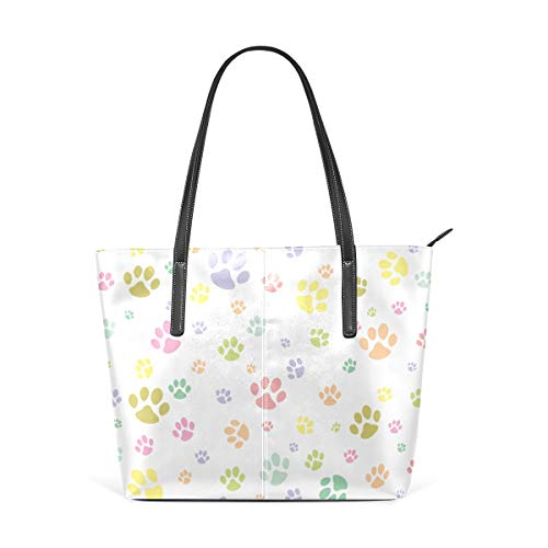 - Laptop Tote Bag Colourful Doodle Dog Paw Animal Large Printed Shoulder Bags Handbag Pu Leather Top Handle Satchel Purse Lightweight Work Tote Bag For Women Girls