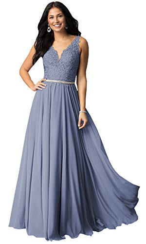 - V Neck Lace Bodice Beaded Belt Chiffon Prom Dresses Long for Women Formal Party Gown (Dusty Blue,8)