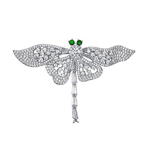 Bella-Vogue Empress Monarch Dragonfly with Green Rhineston Eyes Crystal Rhinestones Brooch Pin