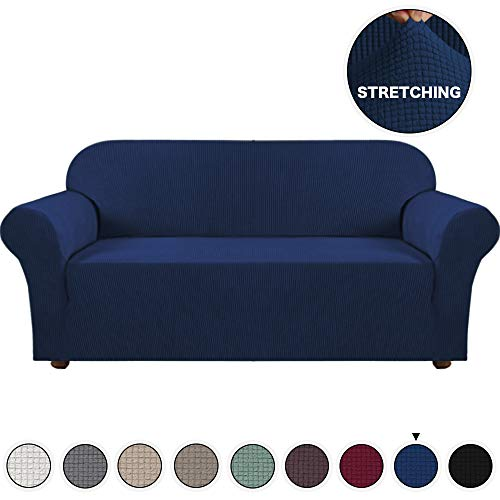 - Turquoize Navy Blue Sofa Slipcovers Spandex Jacquard Furnitue Cover/Lounge Cover, Machine Washable Spandex Form Fit Sofa Covers with Elastic Bottom Fully Covered Sofa Slipcovers (Sofa, Navy)