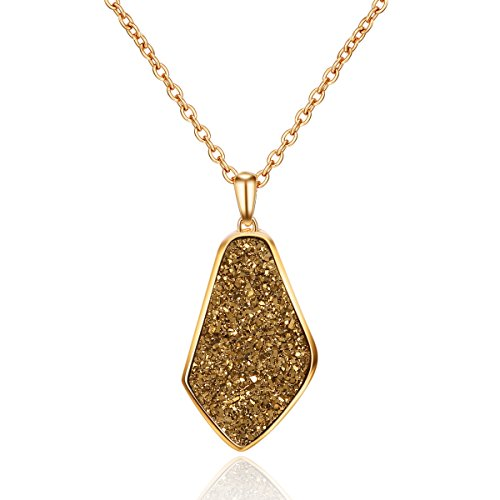 JOY AND ELAINE Bronze Drusy Quartz Teardrop Pendant Necklace with 14K Gold-Plated over Brass, 16