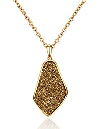 """Drusy Quartz Teardrop Pendant Necklace with Gold-Plated over Brass, 16""""+3"""" Extender"""