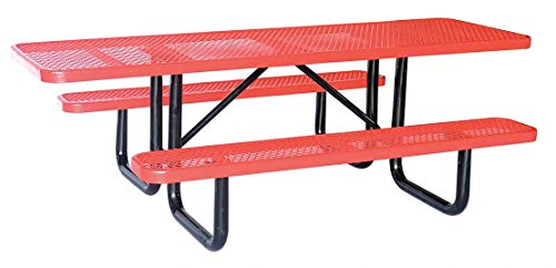 96'W Rectangle Expanded Metal ADA Picnic Table, Red (Steel 8' Bench Expanded)