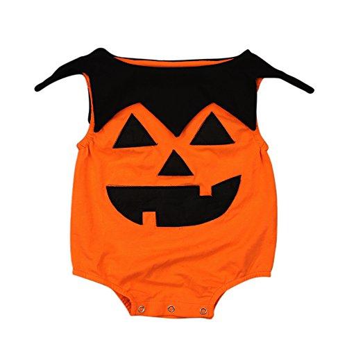 (AR-LLOYD Baby Girls Boys Halloween Costumes Pumpkin Ghost Bodysuit Sleeveless Ruffled Romper Outfits (Orange,)
