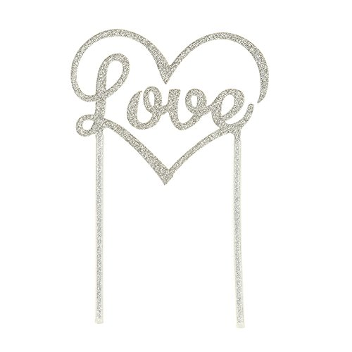 Talking Tables Acrylic Cake Topper, Silver Love