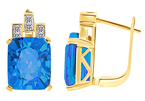 (Emerald Cut Simulated Blue Topaz & White CZ Hoop EarringsIn 14k Yellow Gold Over Sterling Silver)