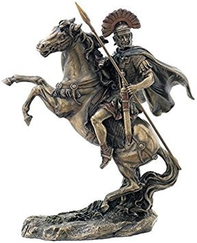 Bronzed Finish Roman Centurion on Horseback Statue