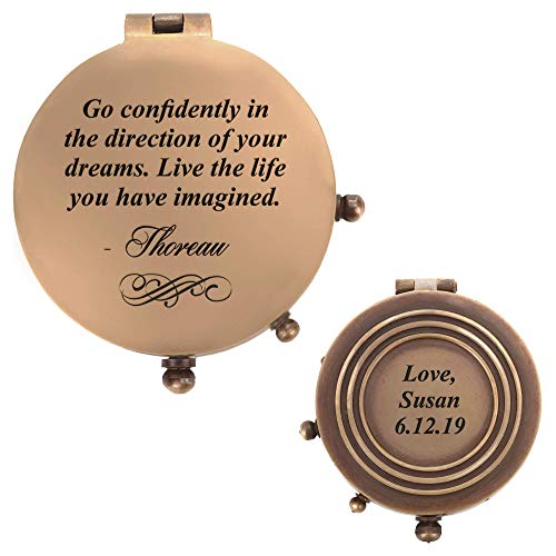Personalized Pocket Compass (6 designs) - Inspirational Quotes Engraved on a Brass Compass - Gift for Graduation, Anniversary, Baptism, Retirement, or Christmas - Vintage Style Working - Metal Compass Pocket
