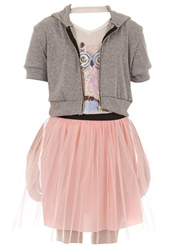 Big Girl 3 Pieces Set Jacket Neckband Top Mesh Tulle Casual Girl Dress Grey 14 JKS 2124 by BNY Corner