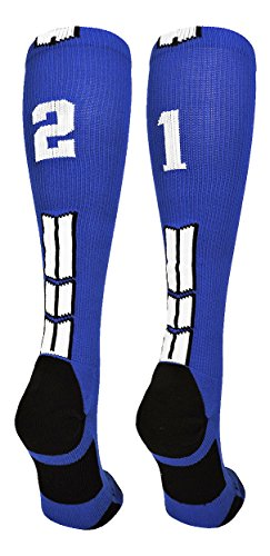 MadSportsStuff Royal/White Player Id Over The Calf Number Socks (#21, Small)
