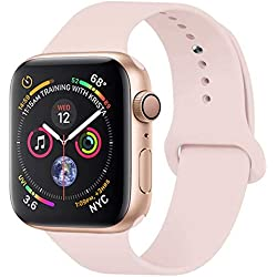 YANCH Compatible with for Apple Watch Band 38mm 40mm, Soft Silicone Sport Band Replacement Wrist Strap Compatible with for iWatch Nike+,Sport,Edition, S/M, Pink Sand