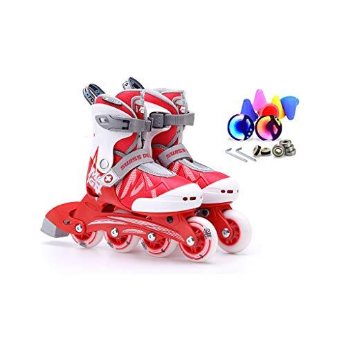 黙全員ポスターailj インラインスケート、子供用スピードスケート、フルセットのローラースケート、調整可能なスケート(3色) (色 : Pink, サイズ さいず : L (35-38) 11 years old or older)