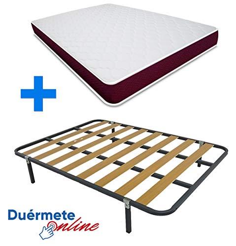 Duermete Online Cama Completa con Colchon viscoelastico Lyla Viscogel Reversible + Somier Basic + 6 Patas, Conjunto, 150x190