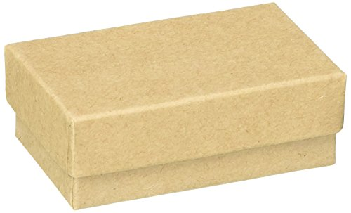 Beadaholique BX2721 K Kraft Brown Cardboard Jewelry Boxes (100 Pack), 2.5 x 1.5 x 1