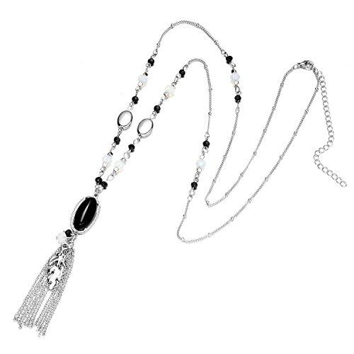 Onnea Cocktail Multi Colors Stone Tassel Necklace (Black - Of Colors Russia