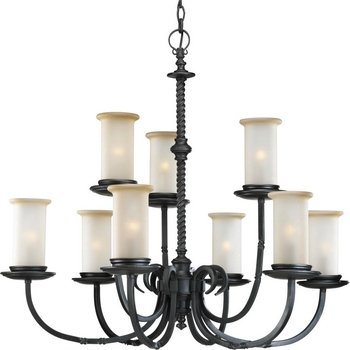 179-80 9-Light Two-Tier Santiago Chandelier, Forged Black ()