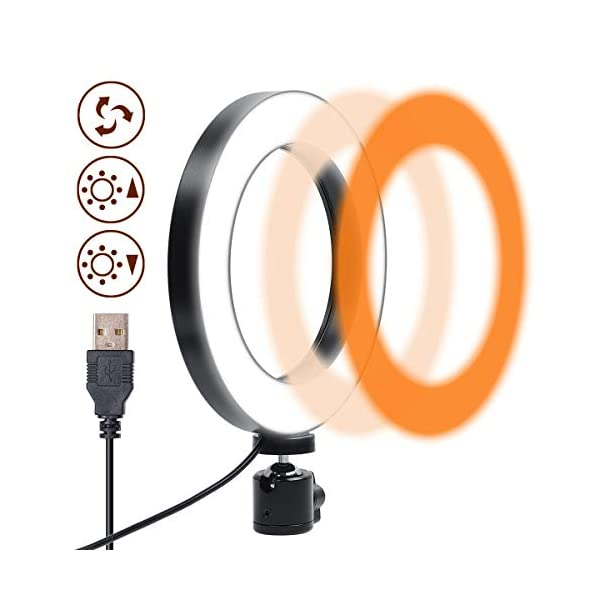 Gemwon Ring Light 6 Inches 3 Color Lights 10 Dimmable Brightness Premium LED Makeup Lighting for Streaming