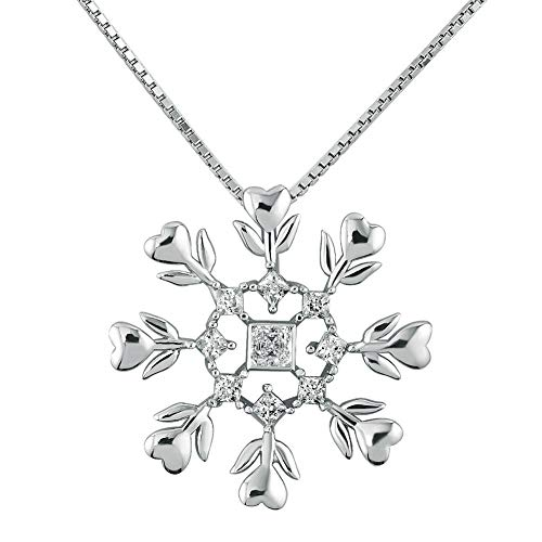 CLY Jewelry 925 Sterling Silver Snowflake Pendant Necklace Flower Around Love Heart with Birthstone Crystal Ferris Wheel Ideal Gift for Women Girl Mom Grandma Wife Mother's Day Birthday Chistmas