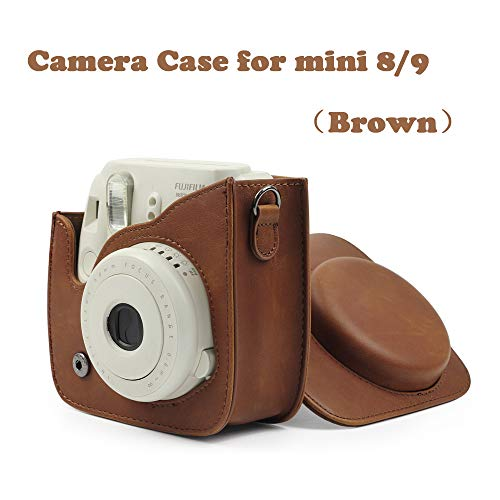 Camera Case, Protective Case Compatible with Fujifilm Instax Mini8/Mini 9 Instant Camera, Premium Vegan Leather Bag Cover with Removable Strap ()