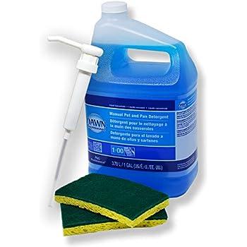 Dawn Professional Dish Detergent Liquid (128 FL oz.) 1 Gallon Bundle — Plus 1 Gallon Size Pump Dispenser and 2 Scrub sponges