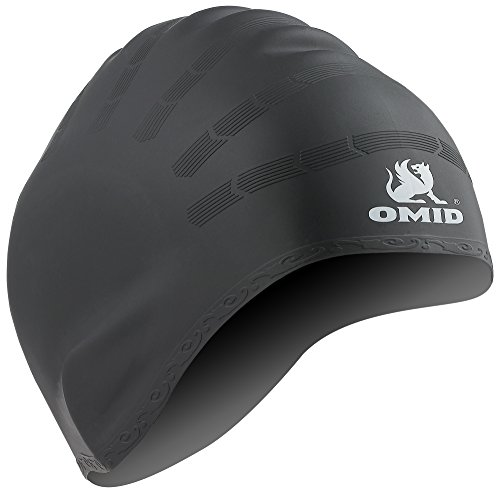 OMID Swim Cap with Ear Pockets Protection, 100% Silicone Great Elasticity and Durable for Teenagers and Unisex Adults, Ergonomic Design Long Hair Swimming - Cold Cap Swim Water