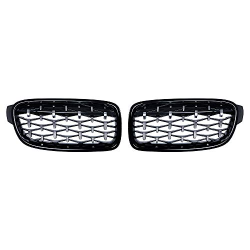 Upgrade Diamond Mesh Grille Style Front Bumper Hood For 2012-2018 320i 328i 335i F30 Sedan F31 Wagon Left Right